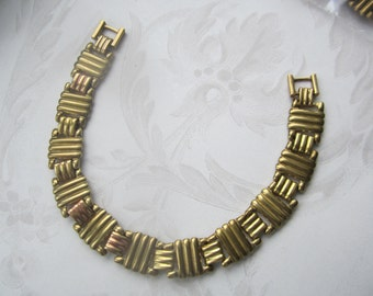 Vintage 60's Raw Brass Ribbed Links Bracelet Chain