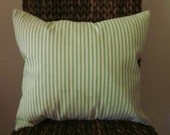 "Green Ticking Pillow Cover, Decorative Pillow,  20"", 18"", 16"" 14"", Green and Off-White"