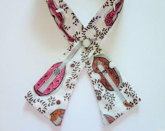 Women's Crisscross Tie, Vintage Fabric, Mandolins Pattern, Continental Tie, Scout Tie