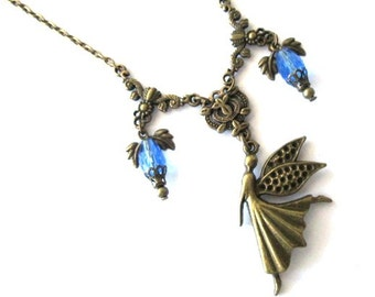 Fairy pendant necklace jewelry with blue teardrop crystal beads victorian vintage style antique brass bronze blue angel charm