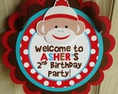 Sock Monkey Birthday Party Door Sign in Red, Brown and Aqua
