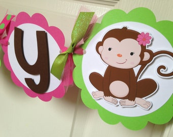Monkey Happy Birthday Personalized Party Banner - Party Decorations - Party Supplies - Party Decor - Party Garland - Pink, Green