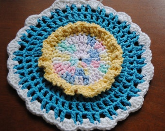 Blue and White Wheel Dish Cloth