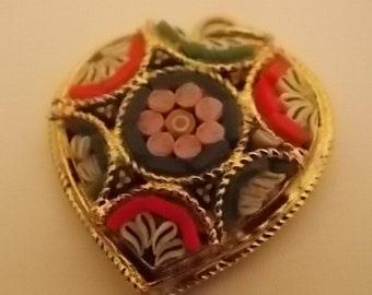 Vintage Micro Mosaic Heart Charm Pendant