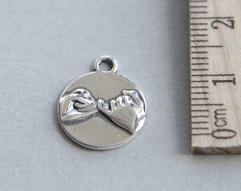 SALE, 925 Sterling Silver Charm, Sterling Silver Pinky Promise Charm, Sterling Silver Pinky Swear Charm, Friendship Charm, 13mm ( 1 piece )