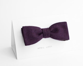 Purple bow tie, wool men's bow tie, self tie - double sided