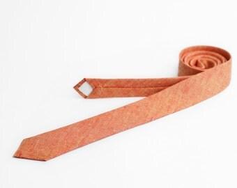 Necktie for men, chambray orange yellow