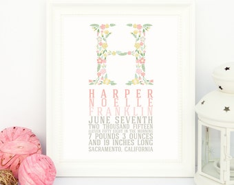 Personalized birth print with newborn stats- Customized to your monogram (8x10 print)