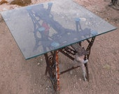 iron table base, rusty, metal cross, fragments, welded, outdoor table, dining table by Diz from Diz has Neat Stuff
