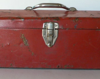 Vintage metal tool box red ,rusty and dented from Diz Has Neat Stuff