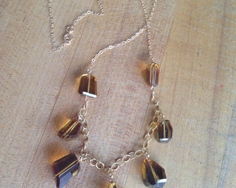 Beer Quartz Necklace - Gold Jewelry - Statement Jewellery - Gold - Gemstone - Beaded - Chain - Fashion - Style