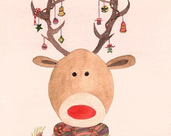 Rudolph the Red-Nosed Reindeer, Christmas Print, Art Print