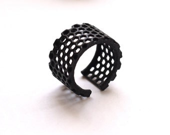 3d printed honeycomb black ring - Slim Perforated Honeycomb Ring.   modern jewelry