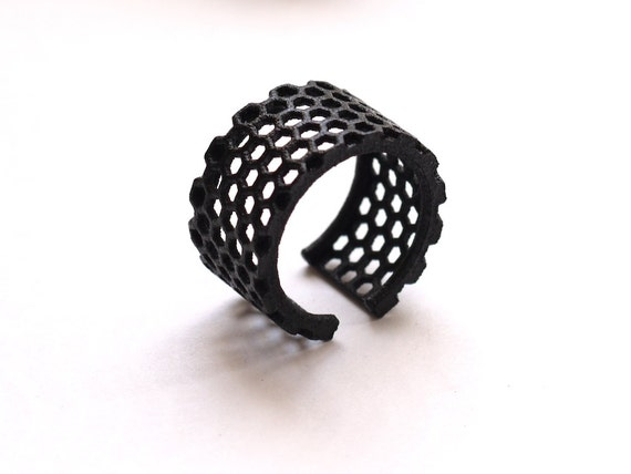 3d printed honeycomb black ring - Slim Perforated Honeycomb Ring.   modern jewelry