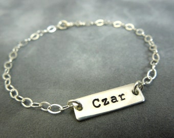 Personalized sterling silver hand stamped bracelet