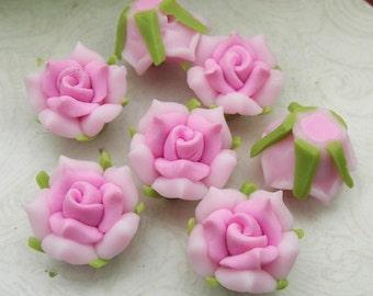 6 Pcs  Beautiful Fimo Rose Flower  13mm,  Pink (WP12-016)