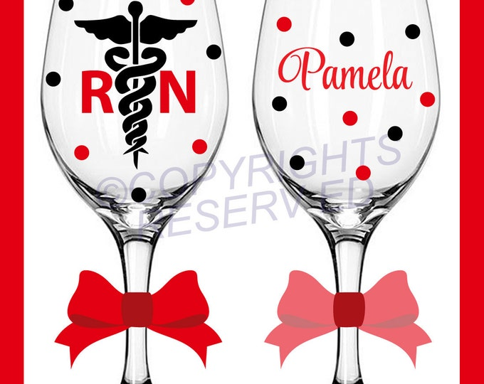 7 Personalized NURSING Tall Wine Glasses for RN LPN or BsN w/ Caduceus or Stethoscope & Name Nurse Nursing Student Gift Polka Dots