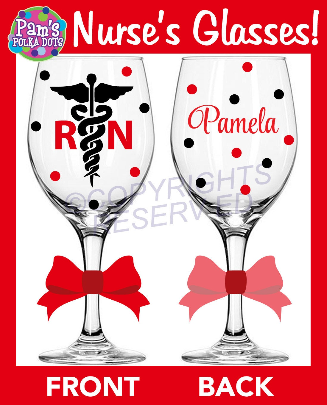5 Personalized NURSING Tall Wine Glasses For RN LPN Or BsN W Caduceus Name Nurse Nursing Student Gift Polka Dots