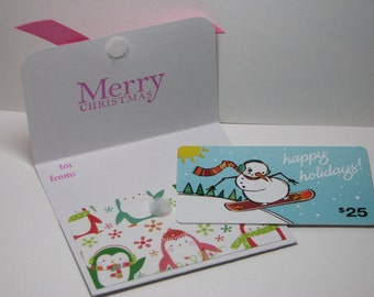 Perky Christmas Penguins Gift Card Holder