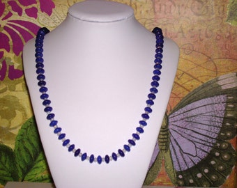 "Lapis Beads w/ Crystals  26"" Necklace with Toggle Clasp"