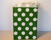 Christmas treat bags, Christmas popcorn bags, dark green polka dot bitty bags, dark green candy bags, wedding candy bar buffet