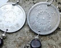 Coin Earrings - Antique Japanese 10 sen flower coin earrings - Japanese coin - coin jewelry - flower - Meiji period - garnet - coin pearls
