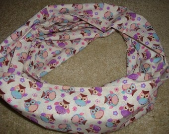 Purple Owls Infinity Scarf