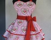 Hearts and Roses Romantic Retro Apron