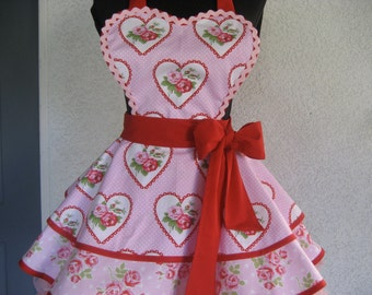 Hearts and Roses Romantic Retro Apron