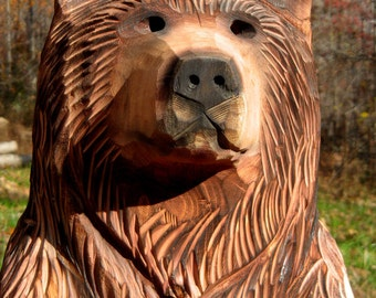 "18-22 inch Bear Cub Chainsaw Wood Carving, ""Rusty"""