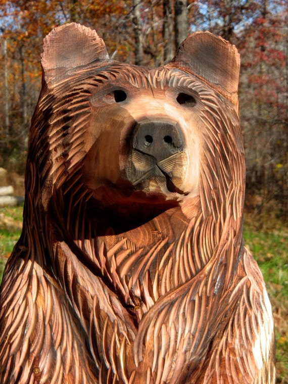 Inch bear cub chainsaw wood carving by
