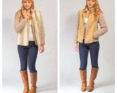 Faux fur sleeveless vest with suede crochet jacket coat set