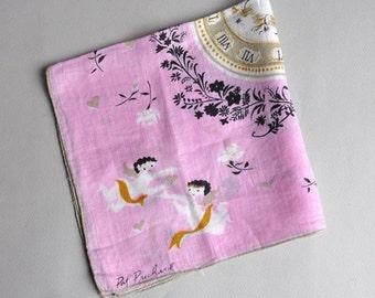 VALENTINE Pink Cherub Angels Hanky - Pat Prichard