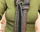 Hand Crocheted Scarf – Warm, Stylish, Echo, Purple, Lavender, Moss, Charcoal, Gray, Popular Winter Item