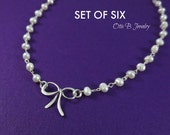 Bridesmaid gifts, SET OF SIX: Bow necklaces,bridal jewelry set, silver bow necklace, Bridesmaid gifts, bridesmaid thank you, otis b jewelry