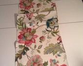 Handmade Beige Floral Linen Blend Table Runner 14.75 x 53.75 inches