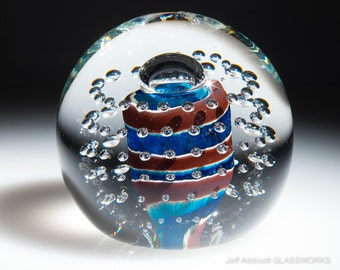 Small Hand Blown Glass Paperweight - Blue with Ruby Spiral and Bubble Grid