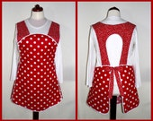 50s Smock Apron - Red and White Polka Dot - vintage style apron - all day work apron, made-to-order XS to Plus Size, choose your pockets