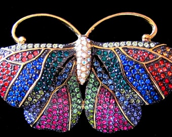 Vintage Estate Joan Rivers Crystal Critters Collection French Rainbow Moth with Swarovski Pave Crystals