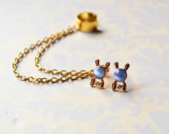 Blue Bunny Rabbit Bowtie Gold Ear Cuff Earrings (Pair)