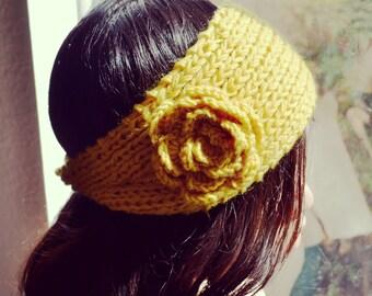 Yellow Flower Knit Headband