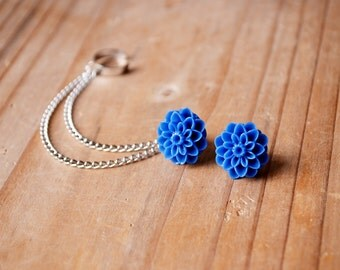 Midnight Blue Dahlia Ear Cuff (Pair)