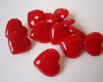 Buttons Red Hearts Shank 12pcs