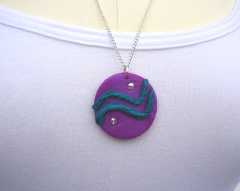 Brilliant Purple Pendant, Polymer Necklace, Purple and Teal, Swarovski Crystal, Art Deco Pendant, Abstract Art Necklace, Hand Crafted Art