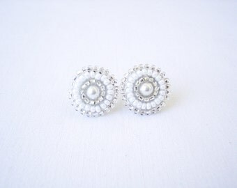 Stud earrings, white earrings, white stud earrings, white studs, beaded studs, wedding earrings, white bridal earrings, bridal stud earrings