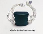 Sea Glass Recycled Black Double Charm Bracelet silver crystal By Earth And Sea
