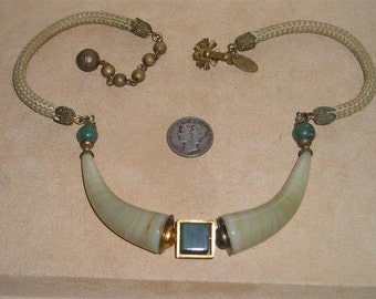 Vintage Miriam Haskell Egyptian Necklace With Real Onyx And Jade Rare 1970's Choker Signed Jewelry 2163