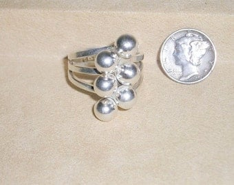 Vintage Sterling Silver Bubble Ring 1960's Size 10 3/4 Signed Mexico Jewelry 110