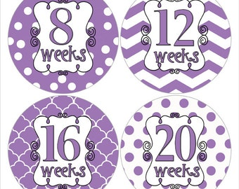 Purple and White Baby Bump Stickers White and Purple Belly Stickers Pregnancy Sticker Pregnancy Reveal  Pregnancy Week Stickers (316)