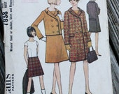 McCall 7938 1960s 60s  Mod Coat Top Jacket SkirtVintage Sewing Pattern Size 14 Bust 34